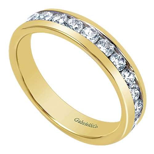 14k Yellow Gold Diamond Straight Anniversary Band angle 3