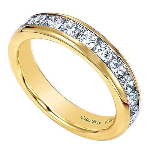 14k Yellow Gold Diamond Straight Anniversary Band angle 3