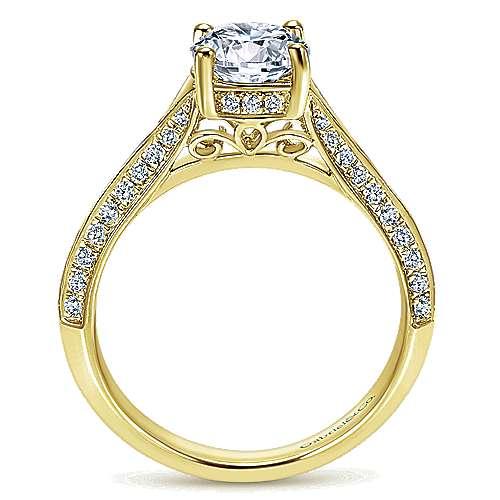 14k Yellow Gold Diamond Straight Engagement Ring angle 2