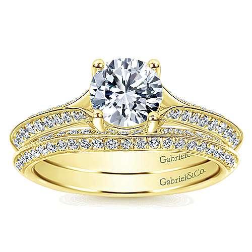 14k Yellow Gold Diamond Straight Engagement Ring angle 4