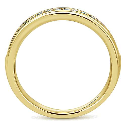 14k Yellow Gold Diamond Straight Wedding Band angle 2