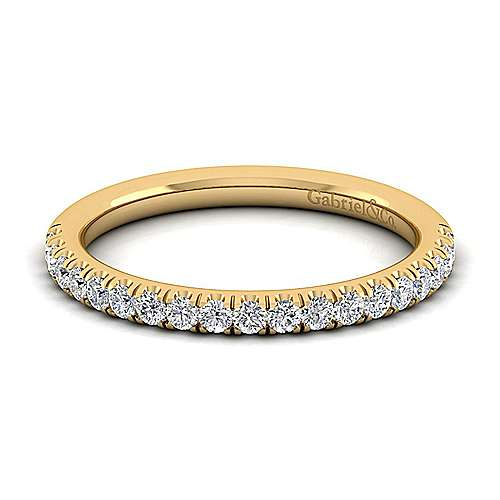 14k Yellow Gold Diamond Straight Wedding Band angle 1