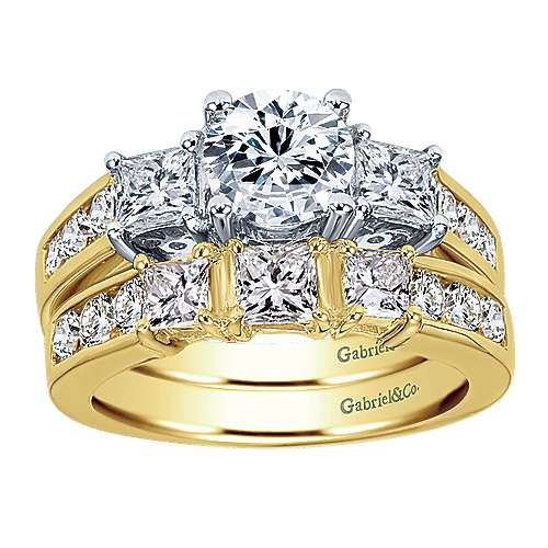 14k Yellow Gold Diamond Straight Wedding Band angle 4