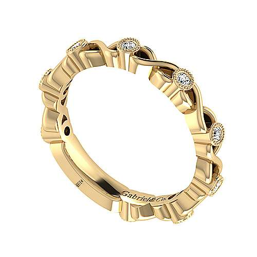 14k Yellow Gold Diamond Straight Wedding Band angle 3