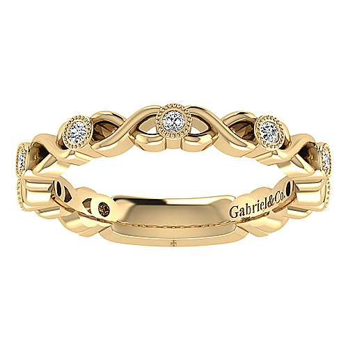 14k Yellow Gold Diamond Straight Wedding Band angle 5