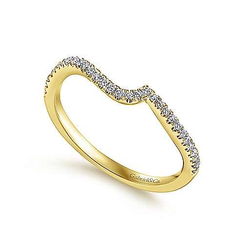 14k Yellow Gold Diamond Straight Wedding Band angle 3