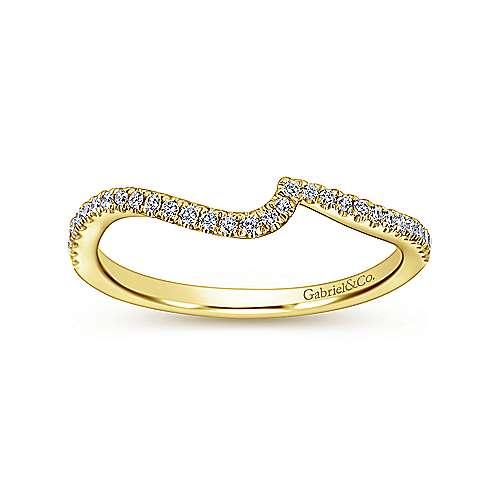 14k Yellow Gold Diamond Straight Wedding Band angle 5