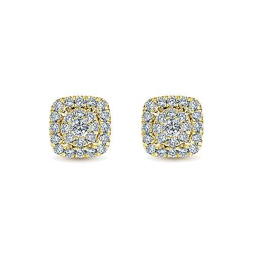 14k Yellow Gold Clustered Diamonds Stud