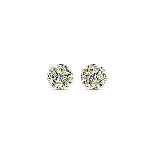 Gabriel - 14k Yellow Gold Floral Stud Earrings