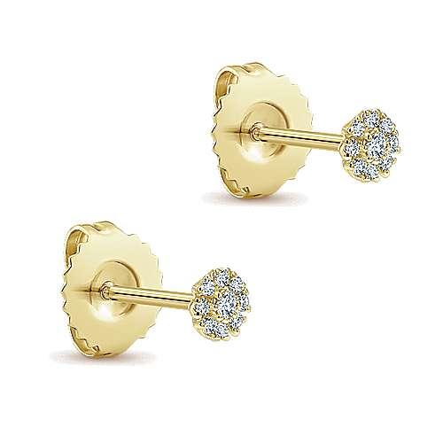 14k Yellow Gold Diamond Stud Earrings angle 2