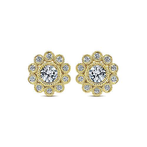 14k Yellow Gold Floral Stud