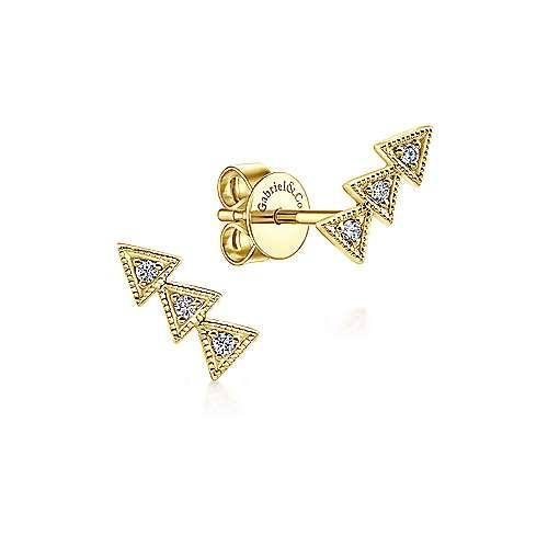 14k Yellow Gold Diamond Stud
