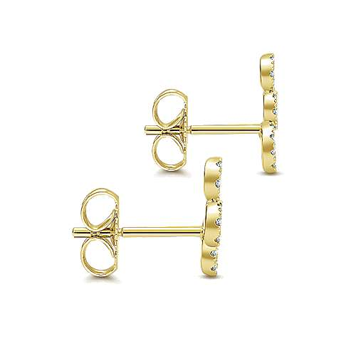 14k Yellow Gold Diamond Stud Earrings angle 3