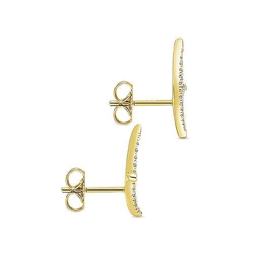 14k Yellow Gold Diamond Stud Earrings angle 3