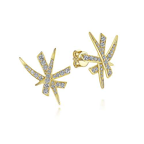 14k Yellow Gold Diamond Stud Earrings angle 1