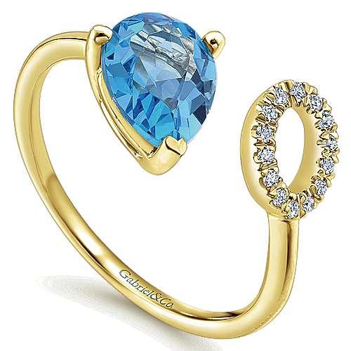 14k Yellow Gold Diamond Swiss Blue Topaz Fashion Ladies