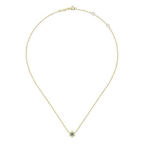 14k Yellow Gold Diamond Swiss Blue Topaz Fashion Necklace angle 2