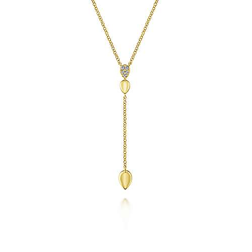 14k Yellow Gold Diamond Teardrop Y Knot Necklace