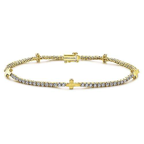 Gabriel - 14k Yellow Gold Faith Tennis Bracelet