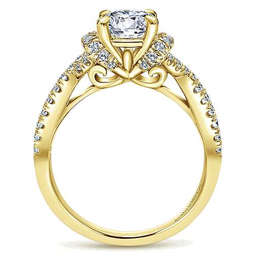 14k Yellow Gold Diamond Twisted Engagement Ring angle 2