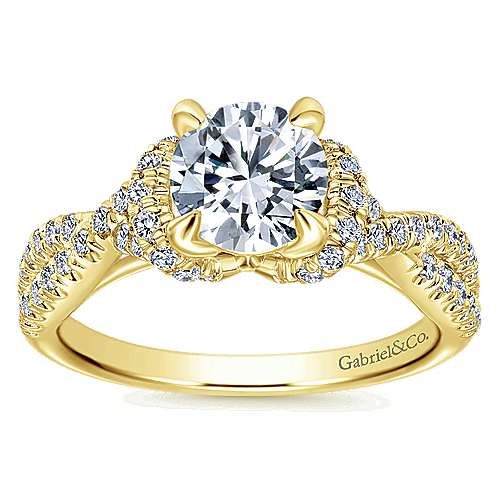 14k Yellow Gold Diamond Twisted Engagement Ring angle 5