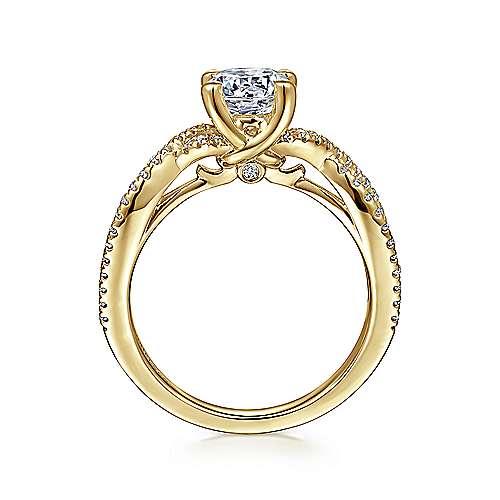 14k Yellow Gold Diamond Twisted Engagement Ring angle 2