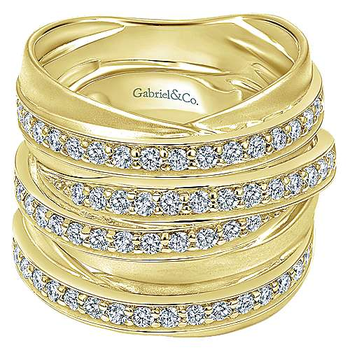 14k Yellow Gold Lusso Diamond Wide Band