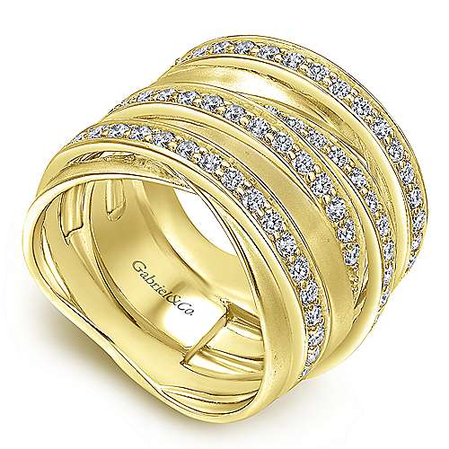 14k Yellow Gold Diamond Wide Band Ladies