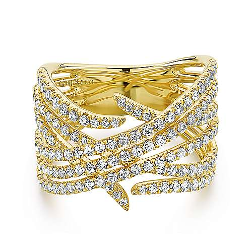 Gabriel - 14k Yellow Gold Kaslique Wide Band Ladies' Ring