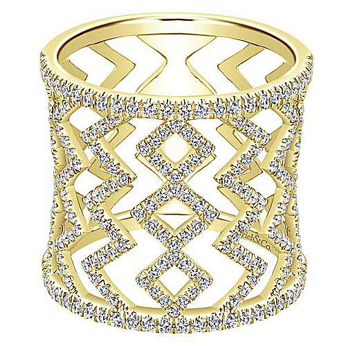 Gabriel - 14k Yellow Gold Art Moderne Wide Band Ladies' Ring
