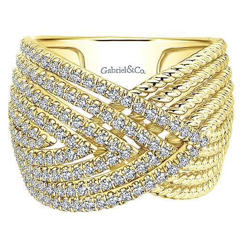 14k Yellow Gold Diamond Wide Band