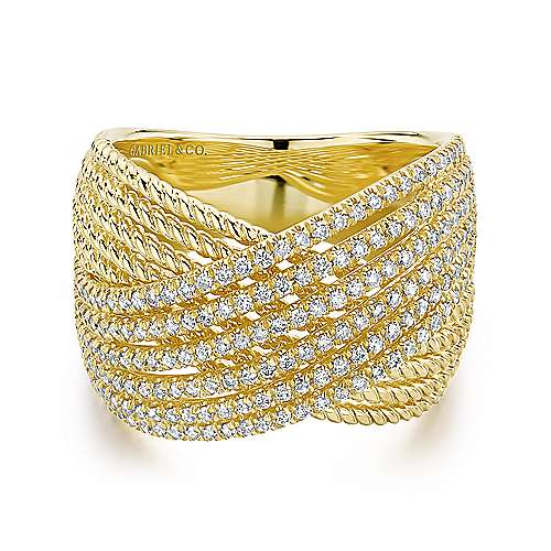 Gabriel - 14k Yellow Gold Hampton Wide Band Ladies' Ring