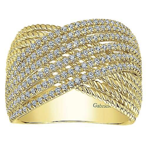 14k Yellow Gold Diamond Wide Band Ladies