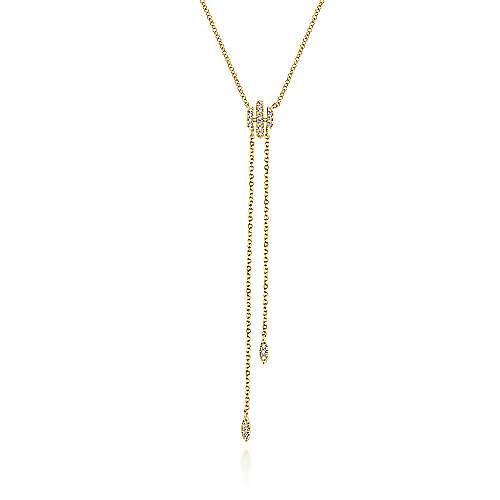 14k Yellow Gold Diamond Y Knot Necklace