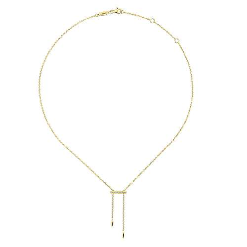 14k Yellow Gold Diamond Y Knots Necklace angle 2
