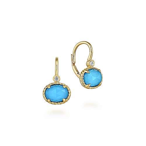 Gabriel - 14k Yellow Gold Drop Rock Crystal & Turquoise Earrings