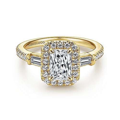 Gabriel - 14k Yellow Gold Emerald Cut Halo Engagement Ring