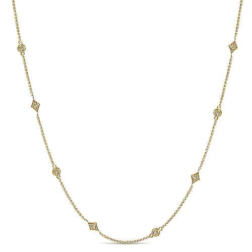14k Yellow Gold Endless Diamonds Station Necklace angle 1