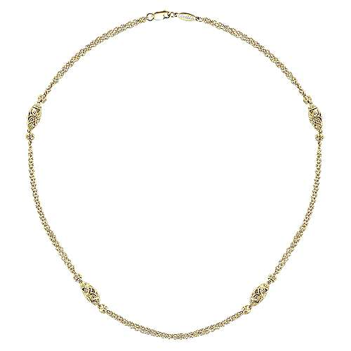 14k Yellow Gold Endless Diamonds Station Necklace angle 2