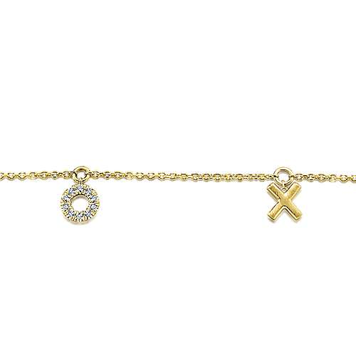 14k Yellow Gold Eternal Love Chain Bracelet angle 2
