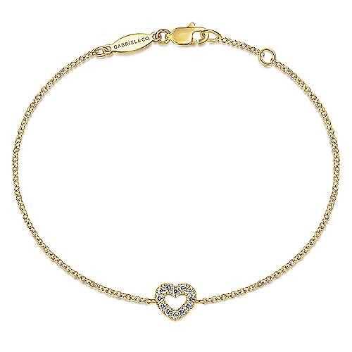 14k Yellow Gold Eternal Love Heart Bracelet angle 1