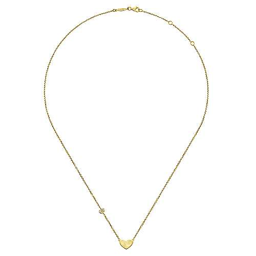 14k Yellow Gold Eternal Love Heart Necklace angle 4