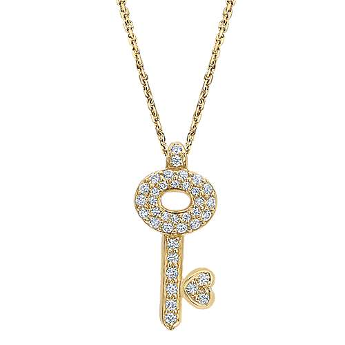 14k Yellow Gold Eternal Love Key Necklace