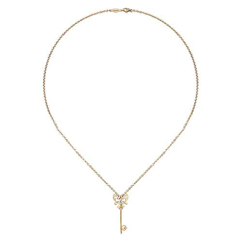 14k Yellow Gold Eternal Love Key Necklace angle 2