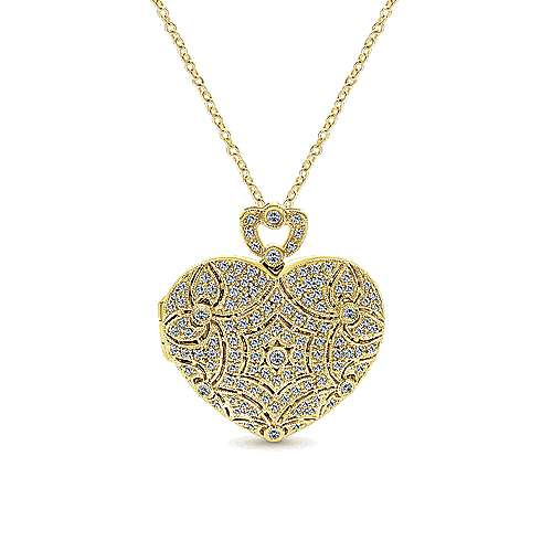 14k Yellow Gold Eternal Love Locket Necklace angle 1