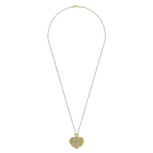 14k Yellow Gold Eternal Love Locket Necklace angle 2