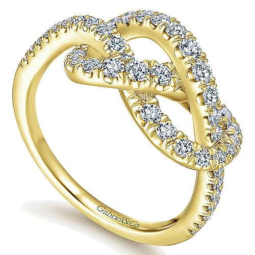 14k Yellow Gold Eternal Love Twisted Ladies' Ring angle 3
