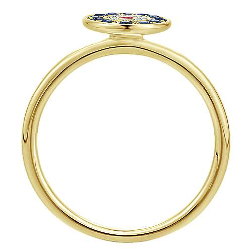 14k Yellow Gold Evil Eye Fashion Ladies' Ring angle 2