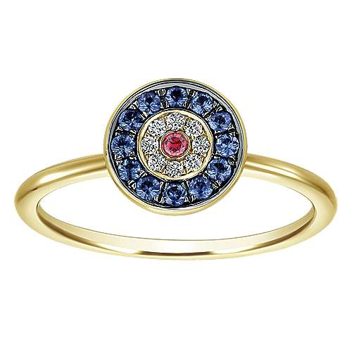 14k Yellow Gold Evil Eye Fashion Ladies' Ring angle 4