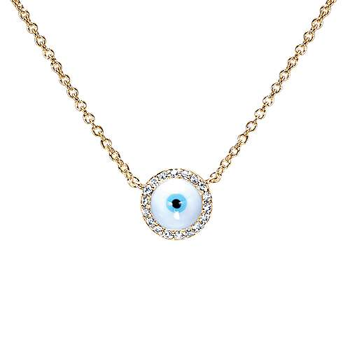 14k Yellow Gold Evil Eye Fashion Necklace angle 1
